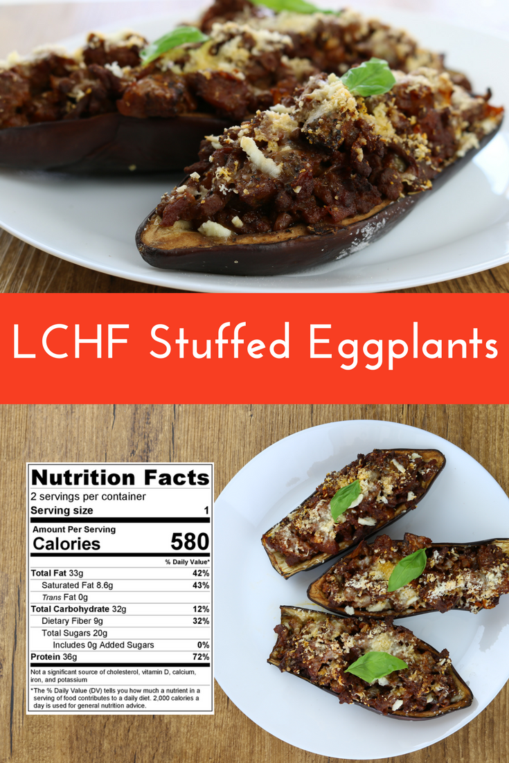 LCHF Stuffed Eggplants