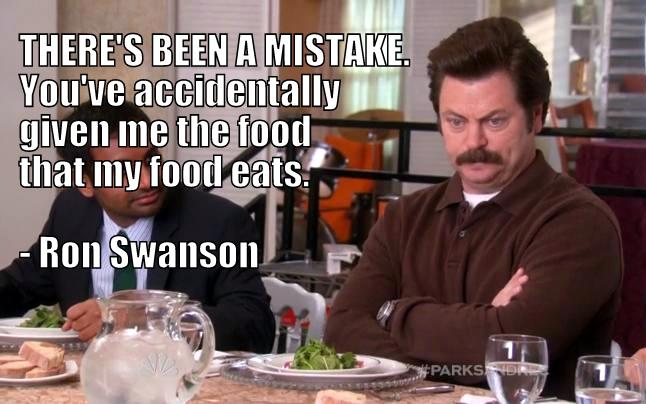 Ron Swanson not eating vegetables